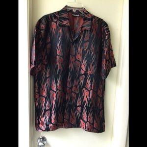 ODO Men's button up shirt red/black.